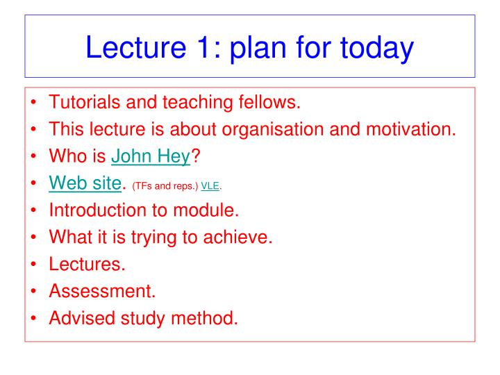Lecture 1: plan for today