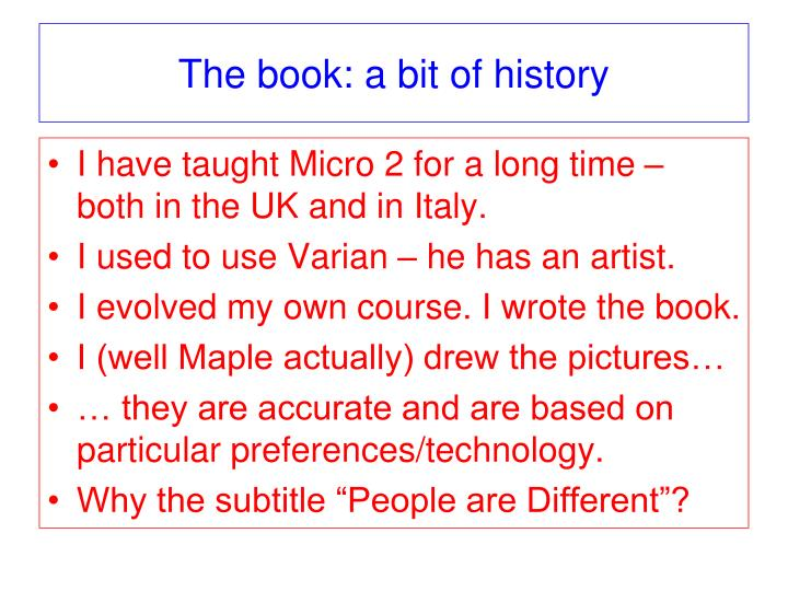 The book: a bit of history
