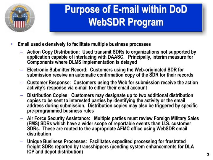 Purpose of e mail within dod websdr program