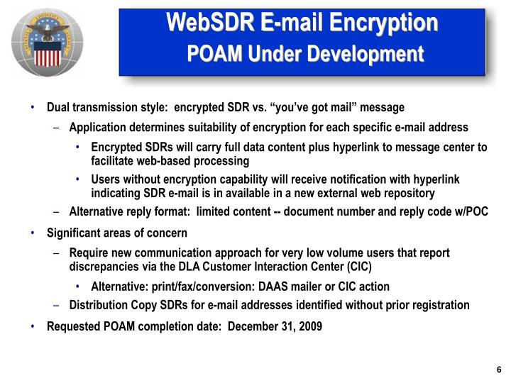 WebSDR E-mail Encryption