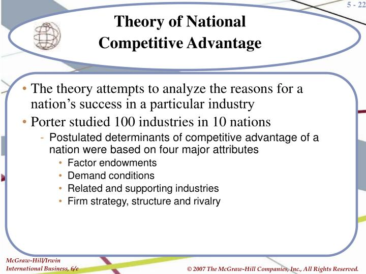 The theory attempts to analyze the reasons for a nation's success in a particular industry