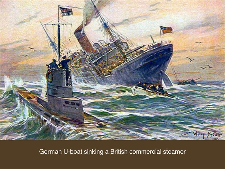 German U-boat sinking a British commercial steamer