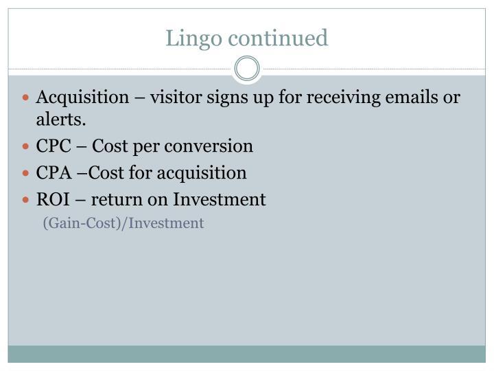 Lingo continued