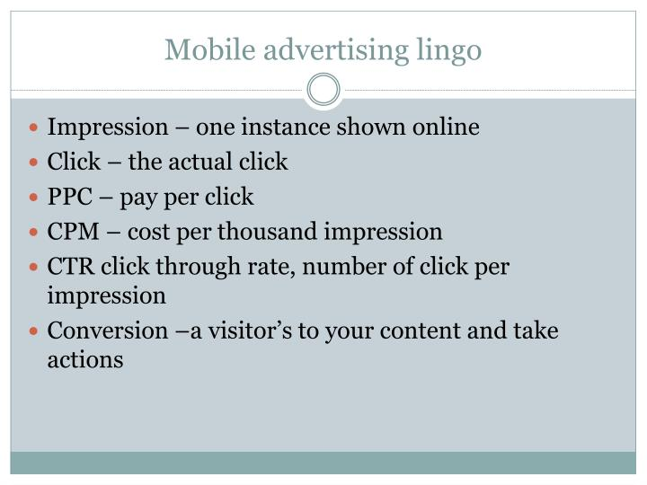 Mobile advertising lingo