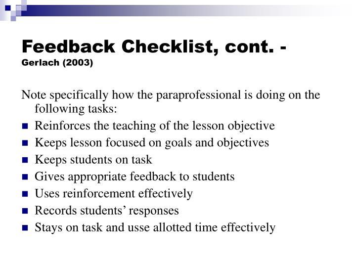 Feedback Checklist, cont. -