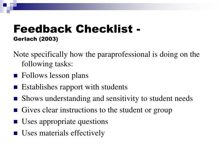 Feedback Checklist -