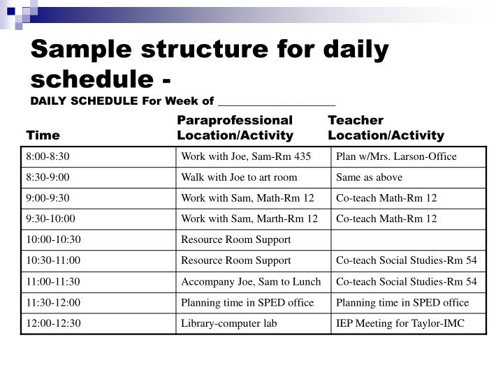 Sample structure for daily schedule -