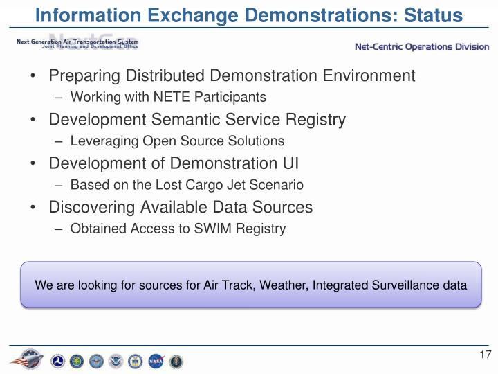 Information Exchange Demonstrations: Status