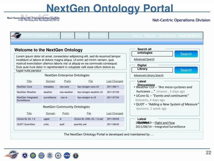 NextGen Ontology Portal