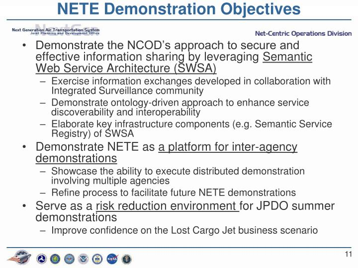 NETE Demonstration Objectives