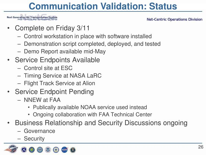 Communication Validation: Status