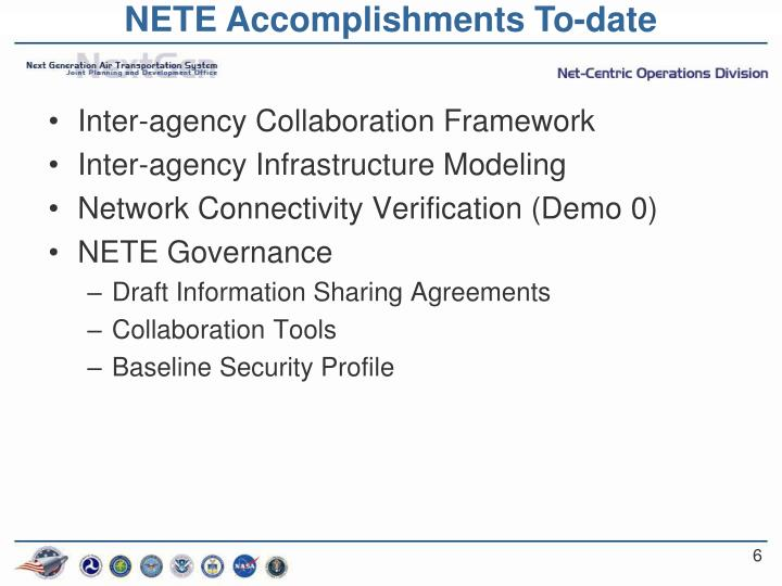 NETE Accomplishments To-date