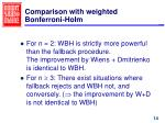 comparison with weighted bonferroni holm