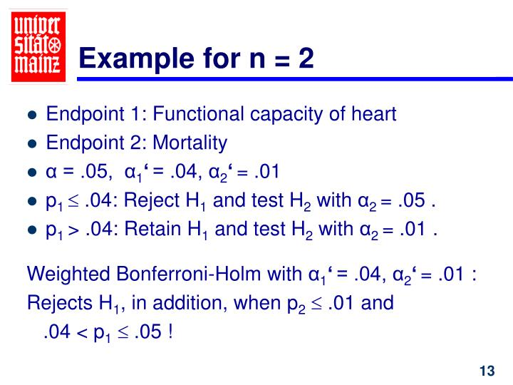 Example for n = 2