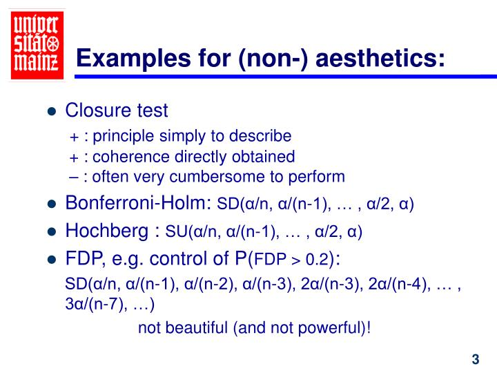 Examples for (non-) aesthetics: