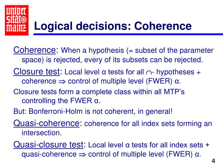 Logical decisions: Coherence