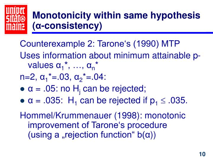 Monotonicity within same hypothesis