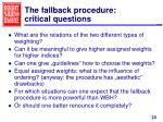 the fallback procedure critical questions