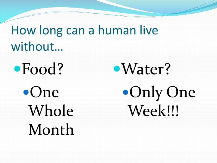 How long can a human live without…
