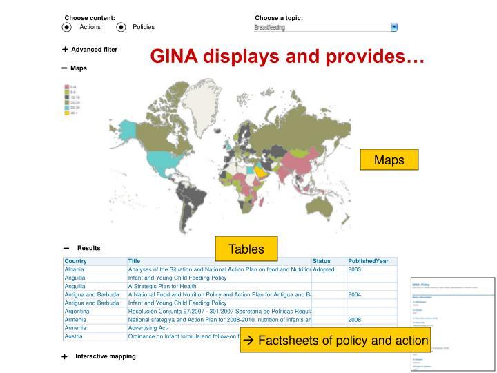 GINA displays and provides…