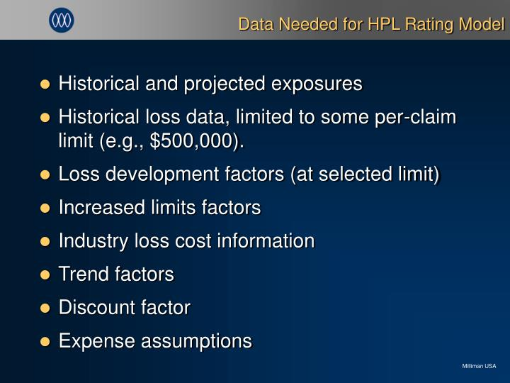 Data Needed for HPL Rating Model