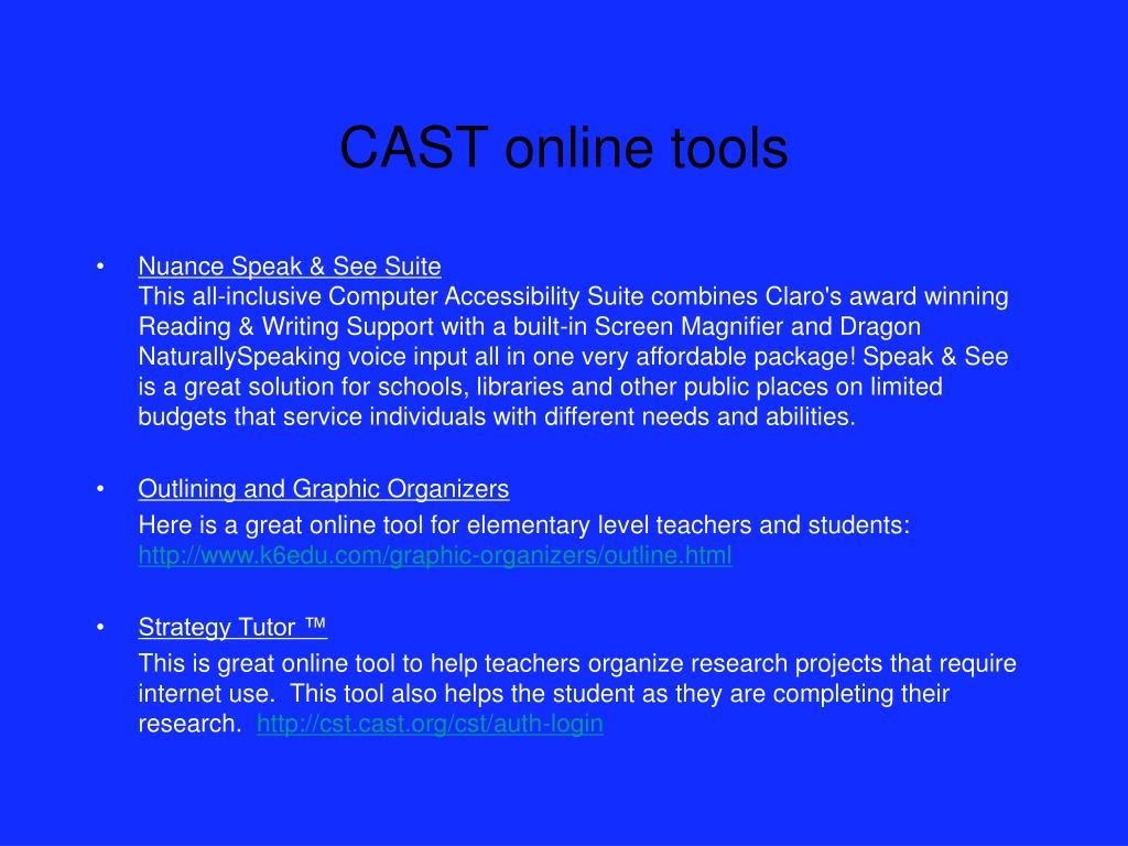 CAST online tools