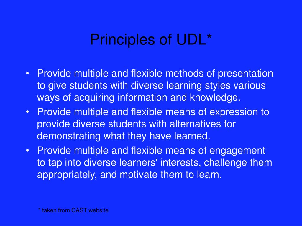 Principles of UDL*