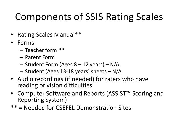 Components of SSIS Rating Scales