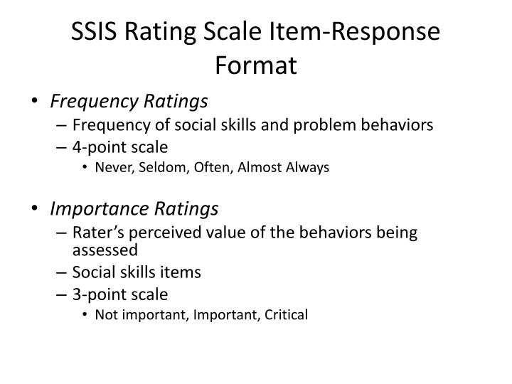 SSIS Rating Scale Item-Response Format