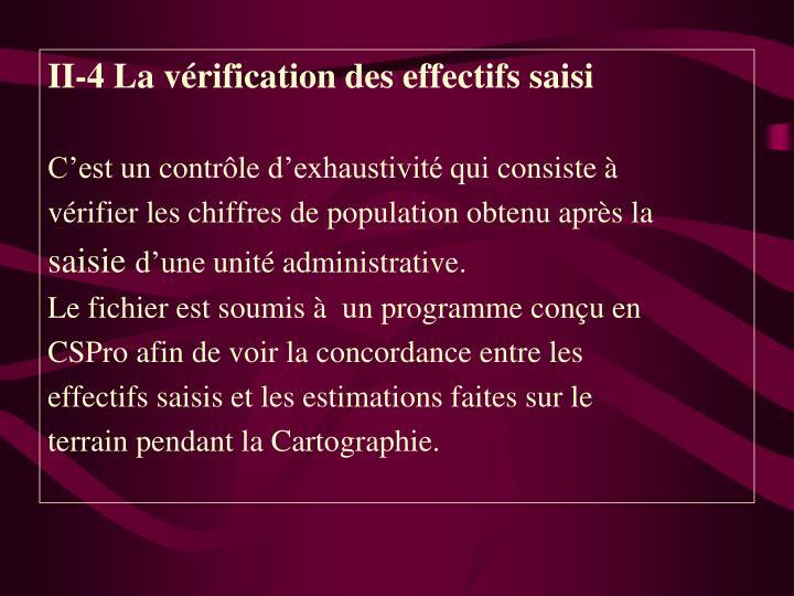 II-4 La vérification des effectifs saisi