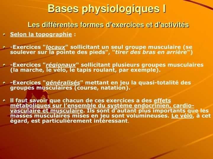 Bases physiologiques I