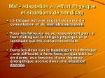 mal adaptation l effort physique et situations de handicap