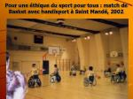 pour une thique du sport pour tous match de basket avec handisport saint mand 2002