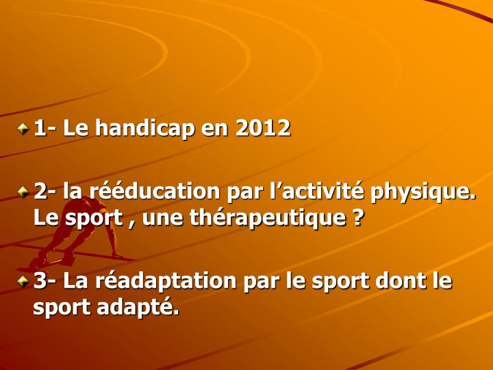 1- Le handicap en 2012