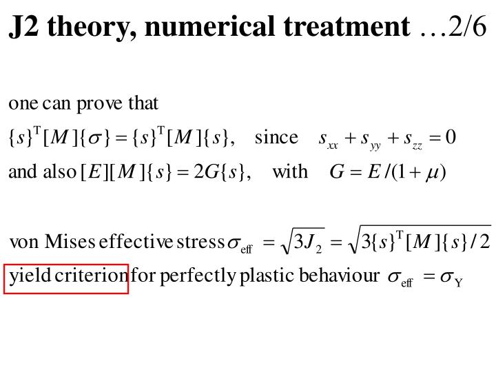 J2 theory, numerical treatment