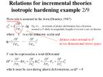relations for incremental theories isotropic hardening example 2 9