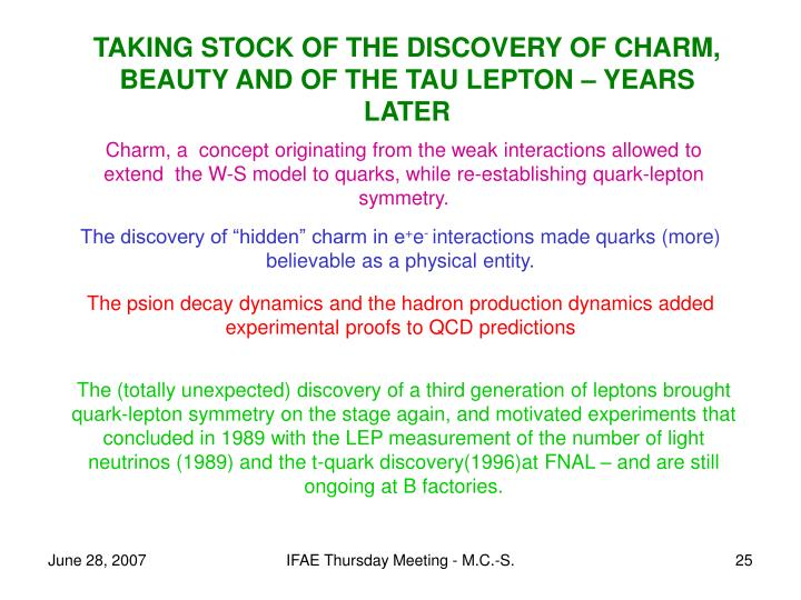 TAKING STOCK OF THE DISCOVERY OF CHARM, BEAUTY AND OF THE TAU LEPTON – YEARS LATER