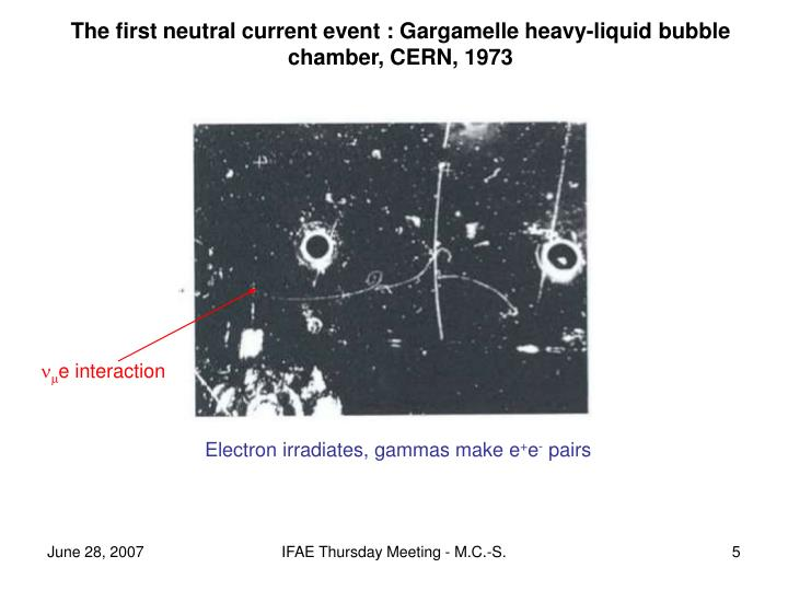 The first neutral current event : Gargamelle heavy-liquid bubble chamber, CERN, 1973