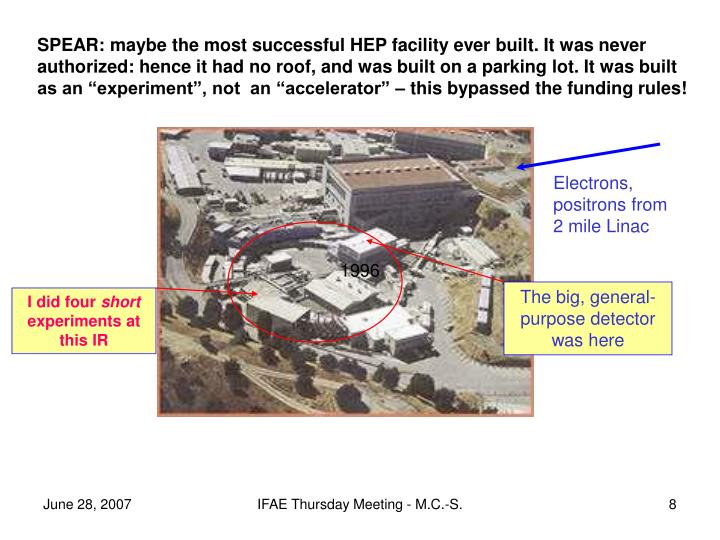 "SPEAR: maybe the most successful HEP facility ever built. It was never authorized: hence it had no roof, and was built on a parking lot. It was built as an ""experiment"", not  an ""accelerator"" – this bypassed the funding rules!"
