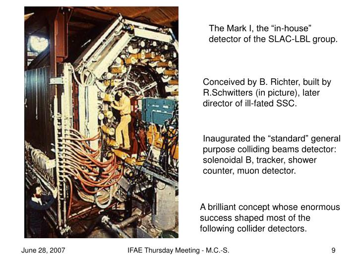 "The Mark I, the ""in-house"" detector of the SLAC-LBL group."