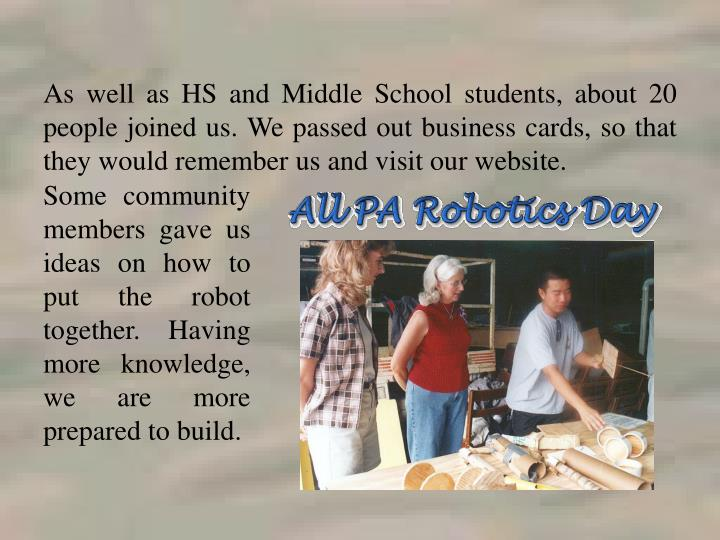 As well as HS and Middle School students, about 20 people joined us. We passed out business cards, so that they would remember us and visit our website.