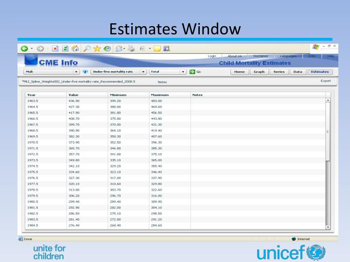 Estimates Window
