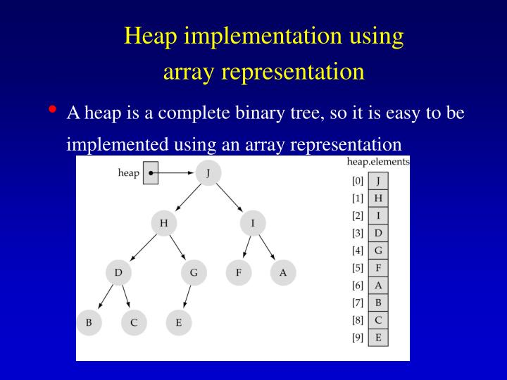 A heap is a complete binary tree, so it is easy to be implemented using an array representation