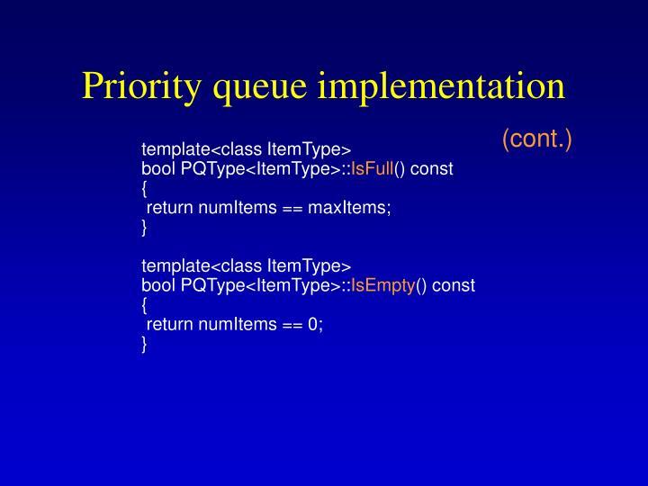 Priority queue implementation