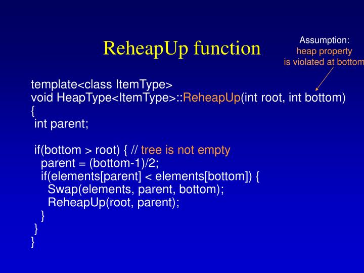 ReheapUp function