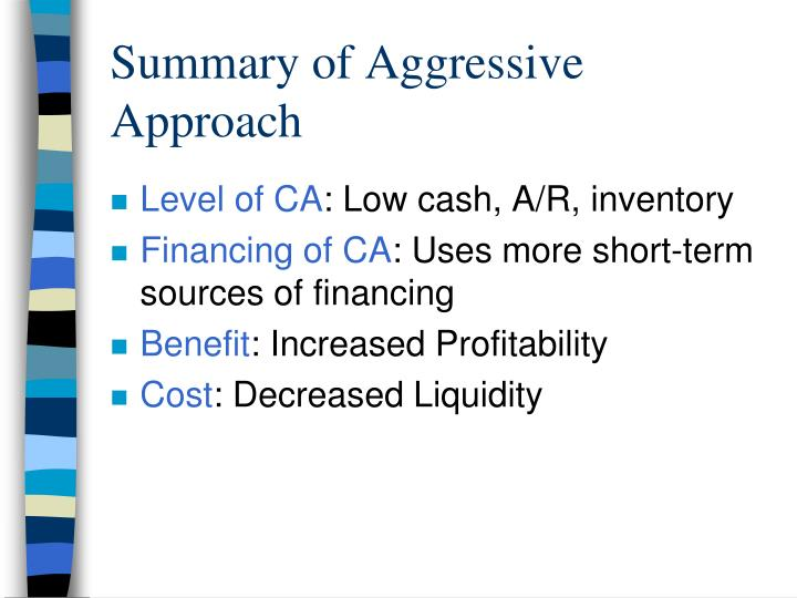 Summary of Aggressive Approach
