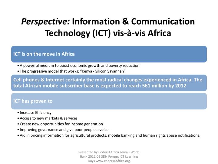 Perspective information communication technology ict vis vis africa