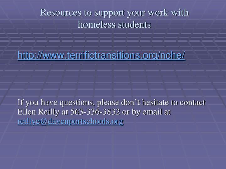 Resources to support your work with homeless students