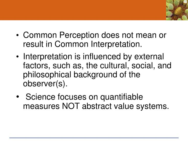 Common Perception does not mean or result in Common Interpretation.