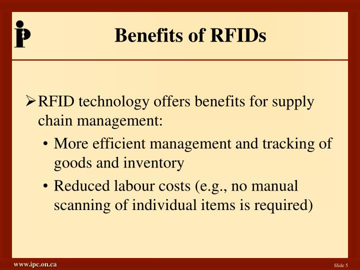 Benefits of RFIDs